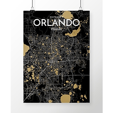 OurPoster.com 'Orlando City Map' Graphic Art Print Poster in Luxe; 24'' H x 18'' W