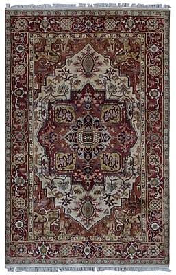 Astoria Grand Shelby Hand-Woven Wool Red Fringe Area Rug