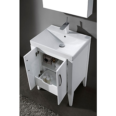 Latitude Run Shriner 24'' Single Bathroom Vanity Set; Glossy White