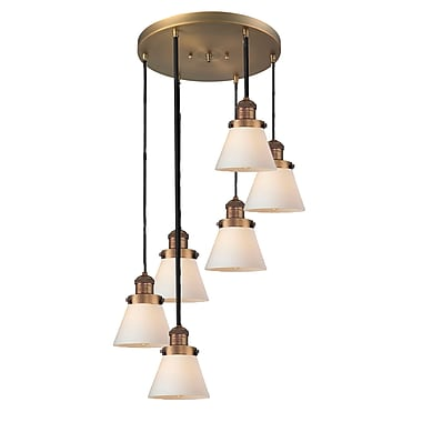 Innovations Lighting Glass Cone 6-Light Pendant; Brushed Brass