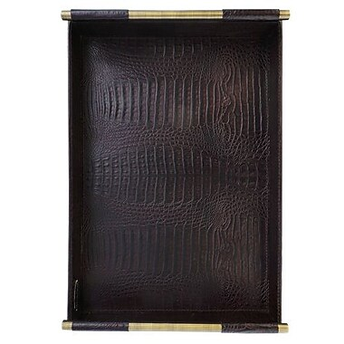Serge De Troyer Collection Leather and Brass Accent Tray