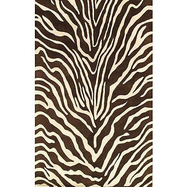 Pasargad NY Hand Knotted Wool Brown Area Rug
