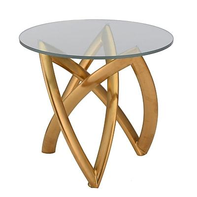 Orren Ellis Jaryd End Table; Brushed Gold