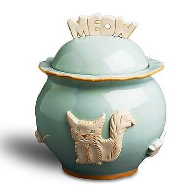 August Grove Cottage Pet Treat Jar; Sky Blue