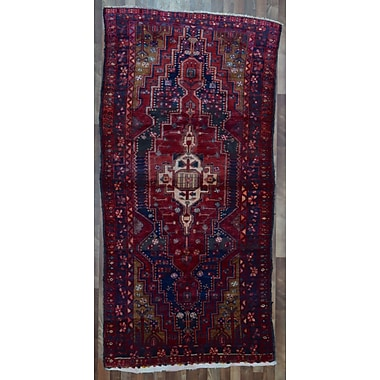 Bloomsbury Market Alayna Hamadan Semi-Antique Hand-Woven Wool Rectangle Red Area Rug