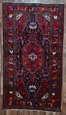 Bloomsbury Market Alayna Hamadan Semi-Antique Hand-Woven Wool Red Area Rug