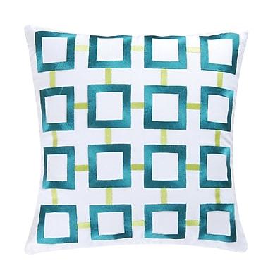 Latitude Run St James Square 100pct Cotton Throw Pillow; Aqua