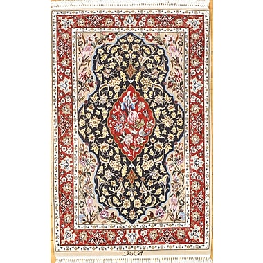 Pasargad NY Isfahan Hand-Knotted Wool Navy/Burgundy Area Rug