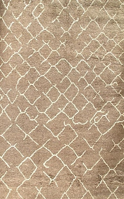 Pasargad NY Moroccan Hand Knotted Wool Brown Area Rug