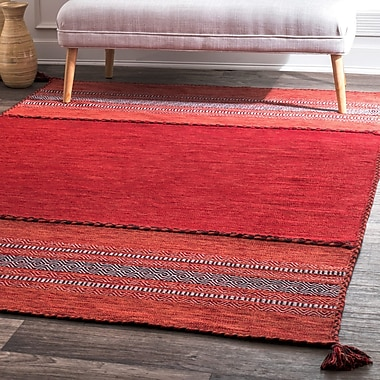 Foundry Select Alessi Hand Loomed Cotton Red Area Rug; Rectangle 5' x 8'