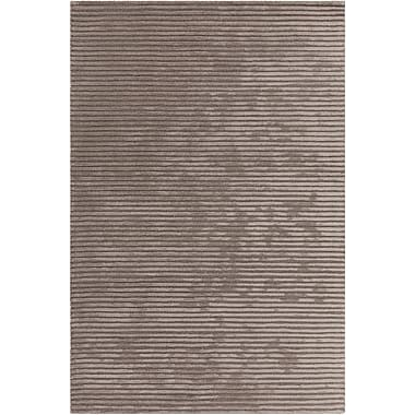 17 Stories Nathen Textured Striped Taupe Area Rug; 3'6'' x 5'6''