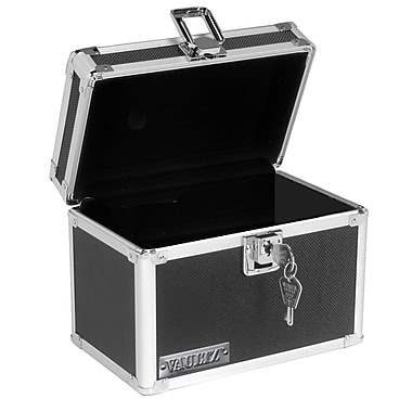 Vaultz - Boîte pour fiches verrouillable, 4 x 6 po, noir