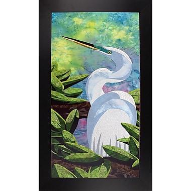 Bay Isle Home 'Great Egret' Print; Black Wood Large Framed Paper