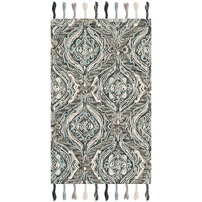 Bungalow Rose Niederanven Hand Knotted Wool Gray Area Rug; Runner 2'3'' x 8'