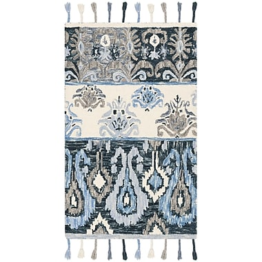 Bungalow Rose Niederanven Hand Knotted Wool Blue Area Rug; Runner 2'3'' x 8'