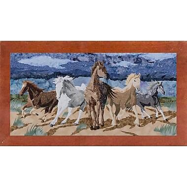 Loon Peak 'Stampeding Horses' Graphic Art Print; Canadian Walnut Wood Medium Framed Paper