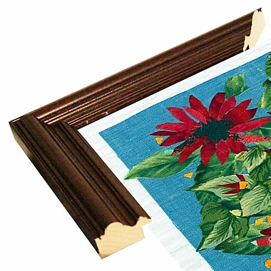 August Grove 'Red Flowers' Graphic Art Print; Cherry Wood Grande Framed Paper