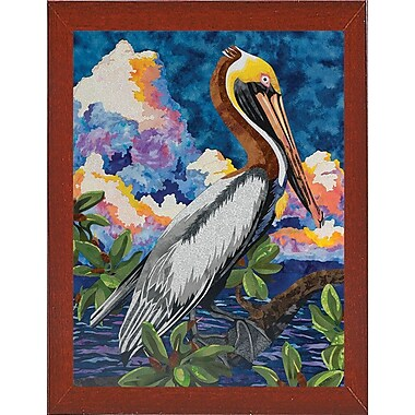 Bay Isle Home 'Pelican' Print; Red Mahogany Wood Medium Framed Paper