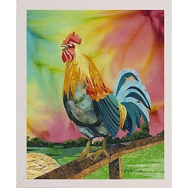 August Grove 'Rooster' Print; White Wood Medium Framed Paper