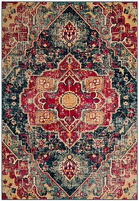 Bungalow Rose Bayshore Gardens Power Loomed Blue Area Rug; 5'1'' x 7'6''