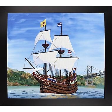 Breakwater Bay 'Ship' Print; Black Wood Large Framed Paper
