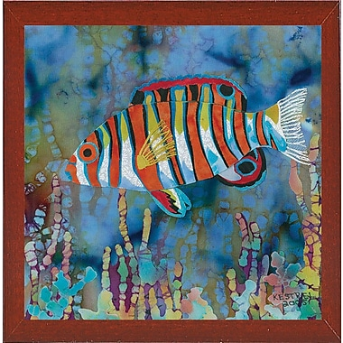 Highland Dunes 'Harlequin Tusk Fish' Print; Red Mahogany Wood Medium Framed Paper