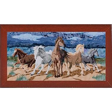 Loon Peak 'Stampeding Horses' Graphic Art Print; Red Mahogany Wood Medium Framed Paper