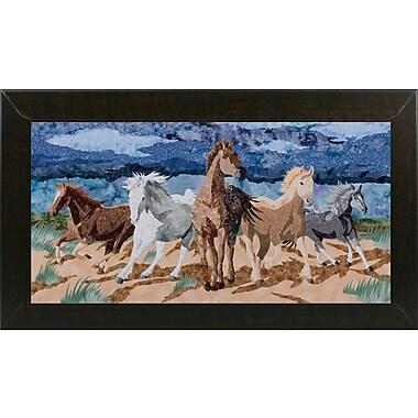 Loon Peak 'Stampeding Horses' Graphic Art Print; Brazilian Walnut Wood Medium Framed Paper