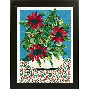 August Grove 'Red Flowers' Graphic Art Print; Brazilian Walnut Wood Medium Framed Paper