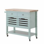 August Grove Grenora Kitchen Cart; Aqua