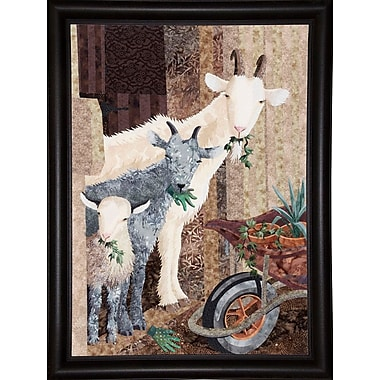 August Grove 'Three Goats and a Wheelbarrow' Graphic Art Print; Bistro Expresso Framed Paper