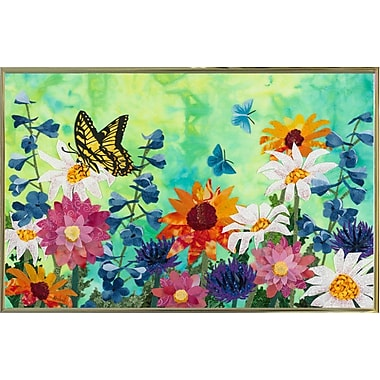 August Grove 'Butterflies' Print; Gold Metal Framed