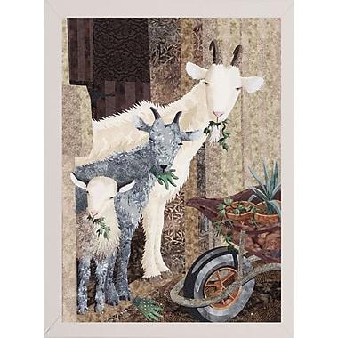 August Grove 'Three Goats and a Wheelbarrow' Graphic Art Print; White Wood Medium Framed Paper
