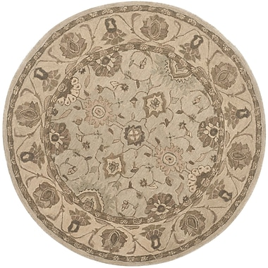 Darby Home Co Caresse Hand Tufted Wool Beige Area Rug; Round 6'