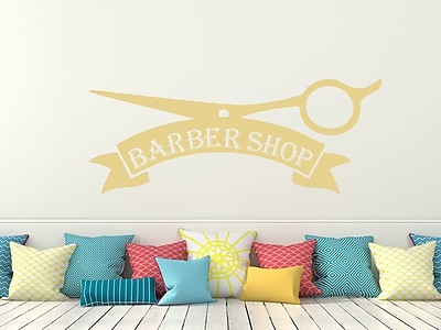 Decal House Barber Shop Wall Decal; Cream