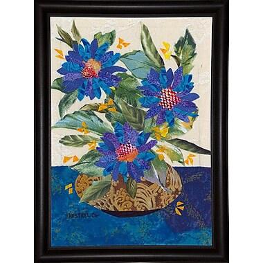 Red Barrel Studio 'Blue Flowers' Graphic Art Print; Bistro Expresso Framed Paper