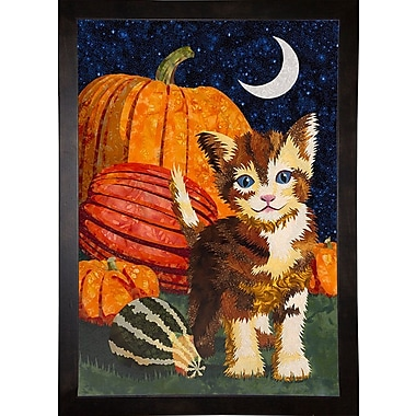 The Holiday Aisle 'Calico Kitten & Pumpkins' Graphic Art Print; Maple Floater Framed Canvas