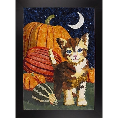 The Holiday Aisle 'Calico Kitten & Pumpkins' Graphic Art Print; Black Wood Large Framed Paper