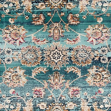Bloomsbury Market Tolleson Teal Area Rug; Square 6'7''