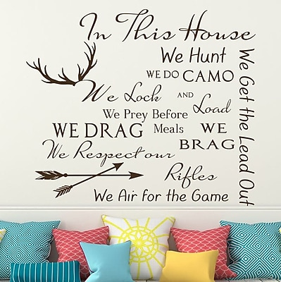 Decal House Family House Rules Quote Wall Decal; Brown