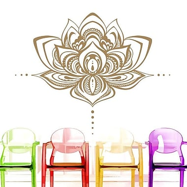 Decal House Mandala Lotus Flower Wall Decal; Cream