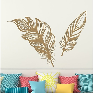 Decal House Feathers Plume Wall Decal; Light Brown