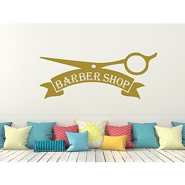 Decal House Barber Shop Wall Decal; Gold