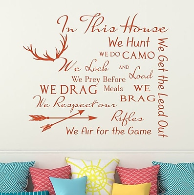 Decal House Family House Rules Quote Wall Decal; Orange
