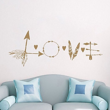 Decal House Love Feather Arrow Wall Decal; Light Brown