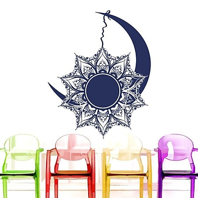 Decal House Mandala Moon Vinyl Sticker Wall Decal; Navy Blue