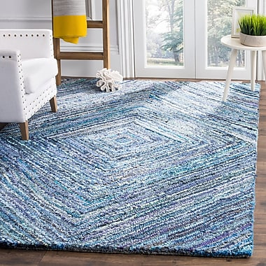 Bloomsbury Market Mueller Hand Tufted Cotton Blue Area Rug; Square 6'