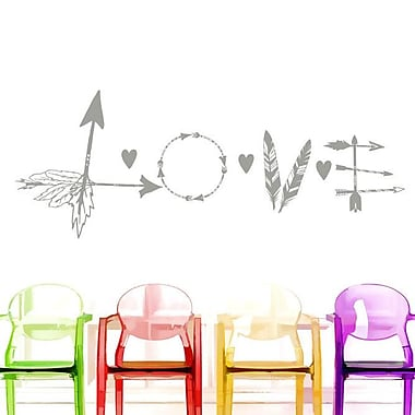 Decal House Love Feather Arrow Wall Decal; Silver Metallic