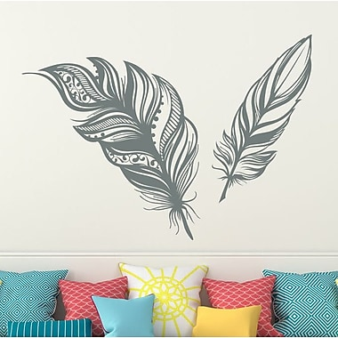 Decal House Feathers Plume Wall Decal; Silver Metallic