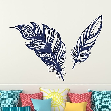 Decal House Feathers Plume Wall Decal; Navy Blue